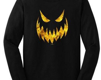 Creepy Jack O'Lantern Pumpkin Face Halloween Long Sleeve  T-Shirt 2400 - WHW-126T