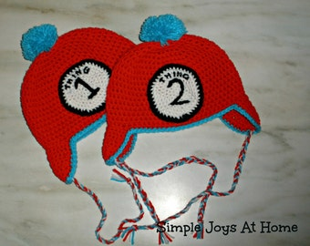 Crocheted Thing 1 and Thing 2 Hats // Dr. Seuss Hats // Twin Hat Set // Dress Up Set // Twin or Sibling Photo Prop // Thing One // Thing Two