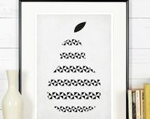 Fruit retro poster, kitchen art, pear, minimalist design, kitchen picture, art print, vintage poster, wall hanging, Scandinavian poster A3