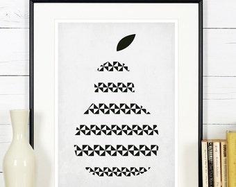 Pear print, minimalist print, kitchen art, fruit print, kitchen picture, art print, wall hanging, Scandinavian, houswarming gift