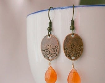 gemstone Earrings Copper with 14k gold filled sale