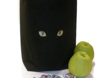 Black cat tote bag, embroidered cat bag, black cat gift, cat lover gift, Halloween trick or treat bag