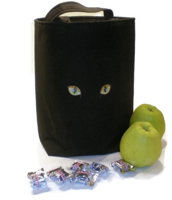 Black cat tote bag embroidered cat bag black cat gift cat