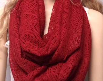 Crimson Red Beautiful  Crochet Lace Infinity Scarf gift ideas