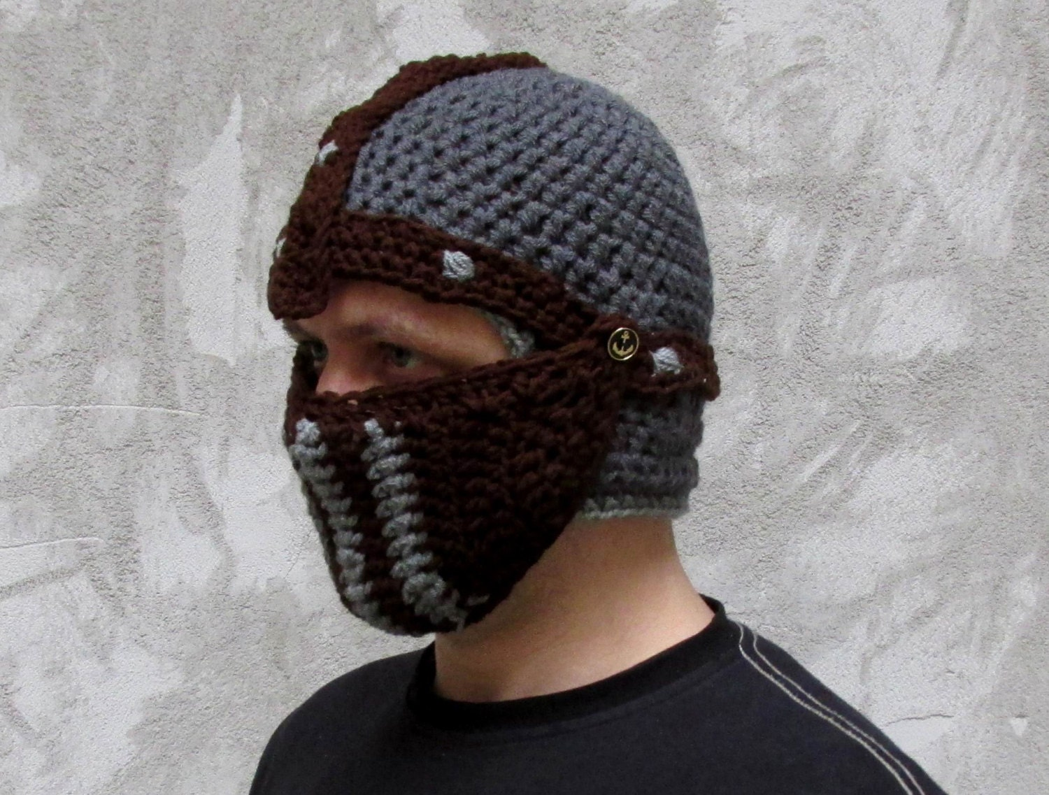 Winter hat Crochet knight helmet crusader hat by paintcrochet