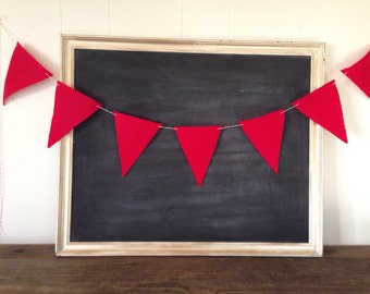 Red Felt Banner Bunting Triangle Flag Pennant Wedding Sign Birthday Garland Home Decor