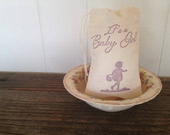 Its a Baby Girl Shower Favor Bag Muslin Bag Party Favor Gift Bag Rustic Baby Shower Thank You Jewelry Soap Bag
