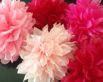 TISSUE PAPER POMS / 5 tissue paper pom poms / wedding decorations, nursery, baby shower, bridal shower, tea party, birthday decorations, diy