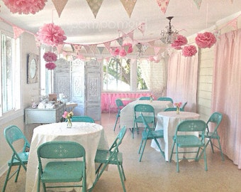 TEA PARTY // 5 Tissue Paper Pom Poms/5 Paper Lanterns / wedding decorations / birthday decorations / bridal shower / baby shower / nursery