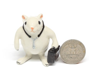 Animals Ceramic Doctor Rat or Mouse Figurine Hand painted