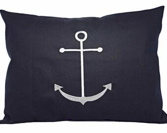 Anchor Pillow Cover - 12 x 16 Inch Lumbar Pillow - Anchor Throw Pillow Cover - Nautical Pillow Cover - Anchor Accent Pillow