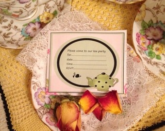 Green Spotty Teapot Tea Party invites. Digital Download Invitations