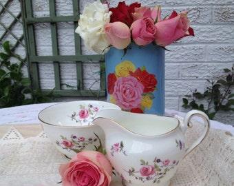 Adderley Fine Bone china Cream jug and Sugar Bowl Creamer Set. MS047