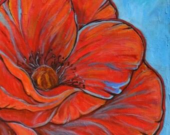 Original acrylic on canvas painting 'Bold Poppy'  LARGE!