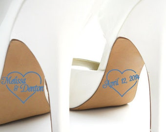 Personalized Bridal Accessories - Hearts Wedding Shoe Stickers