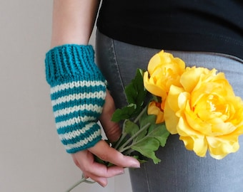 Stripe fingerless mittens, green and white striped mittens, soft acrylic gloves