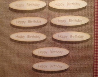 10 Happy Birthday Wooden Card Toppers
