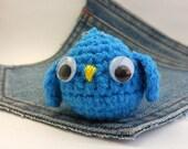 Amigurumi crochet owl keychain. Stuffed owl keychain.