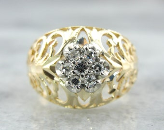 Vintage Filigree Dome Ring with Updated Diamond Accents K8FXE5-N