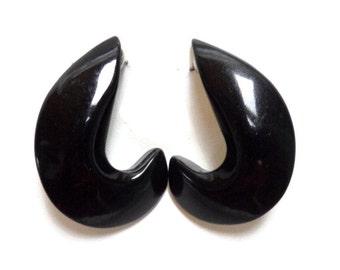 "Vintage Black  Lucite ""Comma"" Earrings"