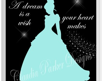 Cinderella Inspired Wall Art,  Princess Wall Art, DIY Printable, Princess Cinderella Print, Wall Decor