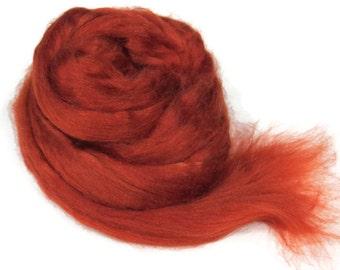 1 oz Tussah Silk Roving , Rust