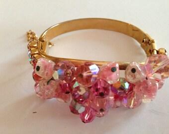 1950s Stunning hattie Carnegie Pink Crystal Aurora Borealis Bracelet Cuff Clamper