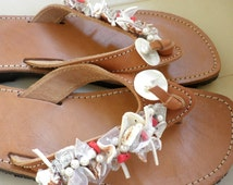 Greek leather sandals with shell beads and pearls ,Summer flip flops ,Beach sandals, Red coral beaded sandals,Summer flip flops