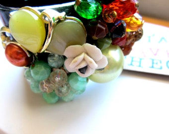 Repurposed /Upcycled Vintage Earrings in a Hinged Cuff Bangle Bracelet, Eco Chic Bracelet.