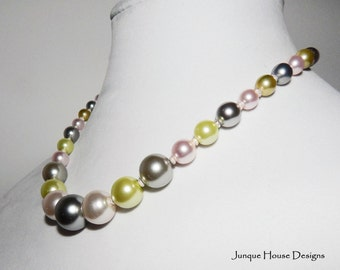 Not Your Grandmother's Pearls Graduated Pastel Chunky Pearl Necklace
