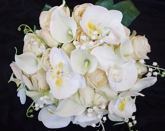 Silk Wedding Bouquet with Champagne Roses, Callas and Orchids - Silk Flower Bride Bouquet - Almost Fresh