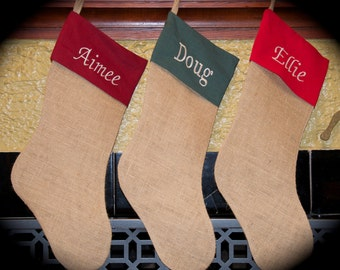 Personalized Burlap Christmas Stocking with Red Cotton Cuff