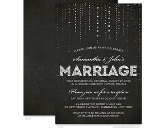 High Quality Silver Glitter Look U0026 Black Wedding Reception Only Invitations   DIY  Printable File