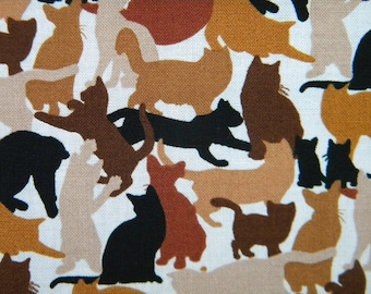 camouflage cats in brown--fabric by the yard--Elizabeth's Studio, cotton