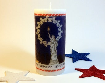 Statue of Liberty Patriotic Candle, 4th of July Decor, Patriotic Decor, Fourth of July Decorations, Red White and Blue, Fourth of July Decor
