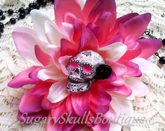 Day of the Dead, Sugar Skull Accessory, Dia de los Muertos, Hair Clip Flower, Dahlia, Sugar Skull Costume, Halloween Makeup