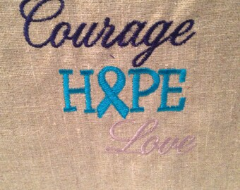 Courage, Hope, Love... Burlap or linen pillow  Cover