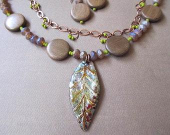 Enamel Leaf, Wood beads, Glass beads, Woodland Necklace and Earring Artisan Set