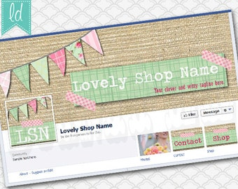 Facebook Cover Photo Set Facebook Timeline - Cover Photo, Profile Picture, and Two Tab Icons Pink and Mint Green Burlap Pennants