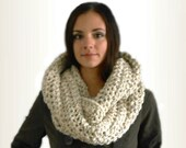 OVERSIZED INFINITY Scarf Cowl Extra Long Huge Chunky Circle Loop Crochet UniSex Infiniti Knit Scarf Cowl Women Mens Scarf Beige Oatmeal Wool
