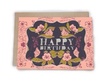 Floral Birthday. 5 x 7 card.