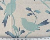 Fabric Sample-Drapery Fabric, Upholstery Fabric, Robin Birds/Leaf/Vine, Aqua/Teal Blue/Natural Fabric, Coastal/Beach