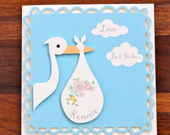 Personalised New Baby Baby Shower card with stork.