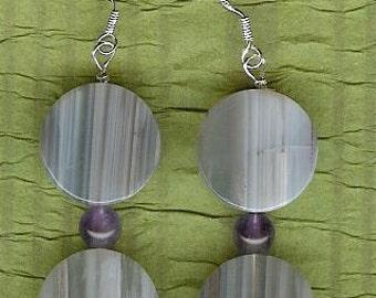 Earrings - Mexican Agate, Amethyst, Sterling Silver