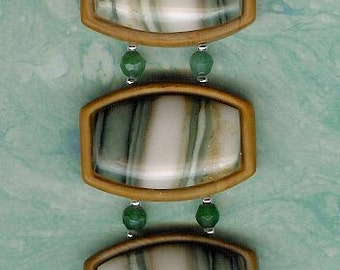 Bracelet - Green Line Jasper, Wood Jasper, Aventurine, Sterling Silver