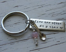 Live one spoon at a time spoonie key chain - silver bar - hand stamped - spoon charm - clear crystals and glass pink heart or other color