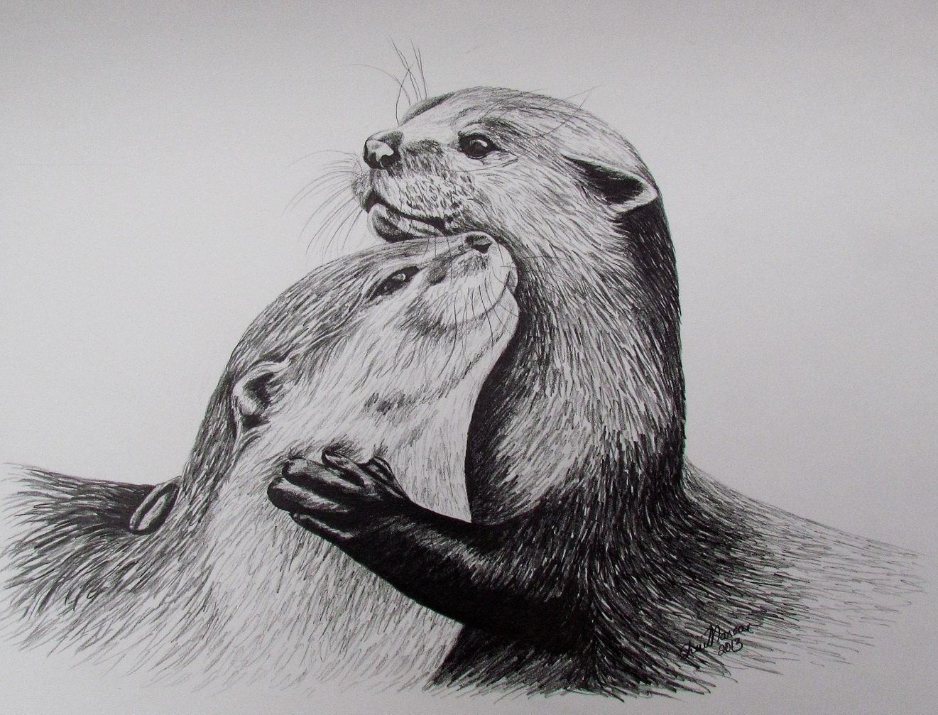 2 Otters Limited Edition Print Black & White Drawing Signed