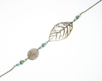Turquoise beaded headband, bronze headband, leaf headband, french jewelry
