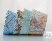 Set of 100 Vintage Map Cupcake Wrappers