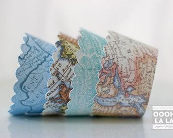 MADE TO ORDER Vintage Map Cupcake Wrappers- Set of 12